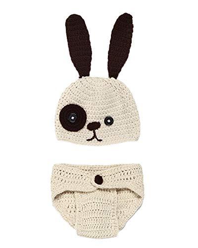Neugeborenen Fotoshooting Kostüm Junge Mädchen Mützen Fotographie Prop Crochet Geschenk Baby Kleidung Neuborn Beige - Kostüm Für Neugeborene Mädchen