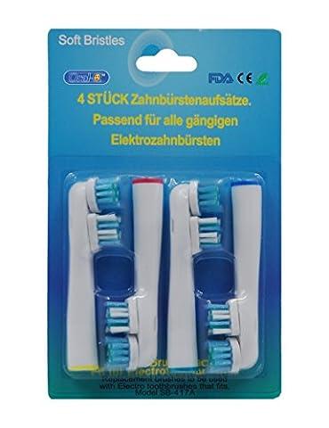 oral-q SB417A Aufsteckbürsten Ersatz für Braun Original Zahnbürstenköpfe F Flexisoft kompatibel mit Elektrische Zahnbürste Griffe, Wirtschaft, (Oral B Flexisoft)