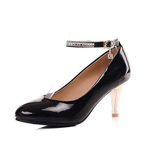 balamasa Femme Baskets Boucle Dessus Cuir Verni pumps-shoes Noir - noir