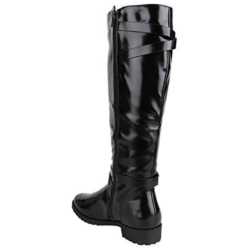 Stiefelparadies Klassische Gefütterte Stiefel Damen Schuhe Veloursleder-Optik Winterschuhe Schnallen Blockabsatz Winter Boots Flandell Schwarz Camiri