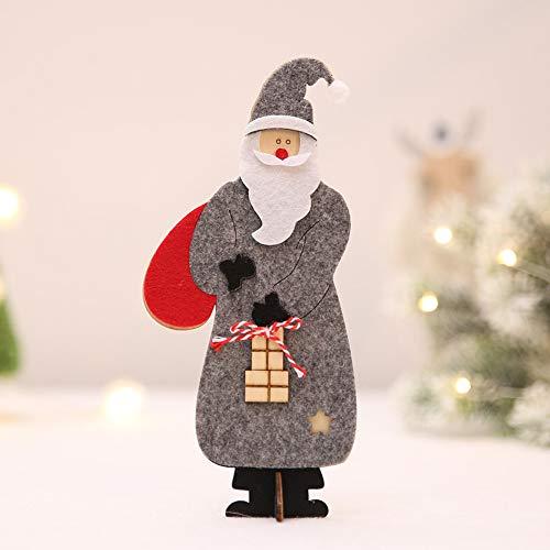 VHVCX Weihnachten Filztuch Holzweihnachtsmann Ornamente Geschenke Der Kinder Ornamente Weihnachtsdekorationen Für Haus 9 * 20Cm, 3