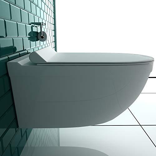 Wand-WC Spülrandlos Weiss Keramik Hänge Toilette inkl. Duroplast WC-Sitz mit Soft-Close Funktion passt zu GEBERIT - 4