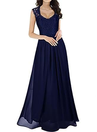 Miusol Damen Aermellos V-Ausschnitt Spitzenkleid Brautjungfer Cocktailkleid Chiffon Faltenrock Langes Kleid Blau Groesse S