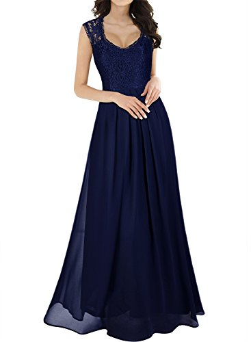 Miusol Damen Aermellos V-Ausschnitt Spitzenkleid Brautjungfer Cocktailkleid Chiffon Faltenrock Langes Kleid Blau Groesse M