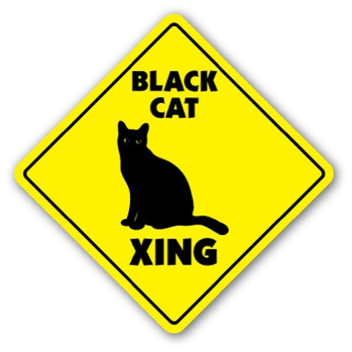 Funny Deko Schilder Schwarz Katze Crossing Sign Neuheit Kitty Katzen Kätzchen Hexe Halloween Metall Aluminium Zeichen für Garagen, Wohnzimmer