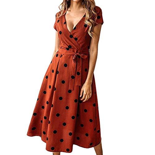 Dicomi Kleider Damen Kurzarm Boho Kleid Polka Dot Drücken V-Ausschnitt Abend Party