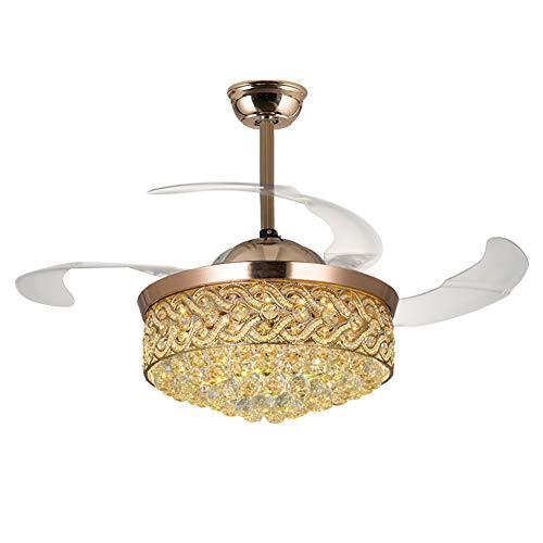 Dajie Lampadario da soffitto in Cristallo con Luce a ventaglio, fanalino Retrattile a Luce LED, 3 Tipi di oscuramento 220V / 36W / 42 Pollici