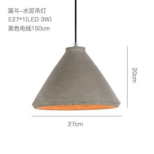 BESPD Einfache innovative Zement runden Hut Kronleuchter Deckenlampe Pendelleuchte Trichter Durchmesser 27*20 Cm (Trichter Ring)