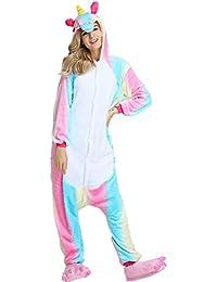 Pijama de unicornio, unisex, con capucha de forro polar, disfraz cosplay, de Jysport