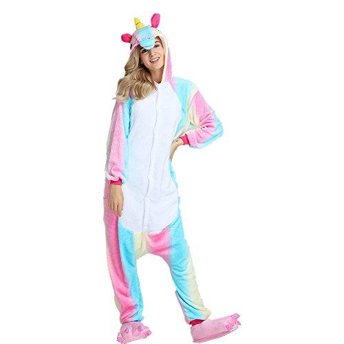 Jysport, unisex Pyjama aus Fleece mit Einhorn-Motiv und Kapuze für Kinder, Damen und Herren xl Summer ()