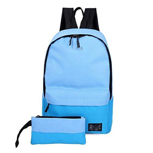 Sacchetto Di Spalla Semplice Della Tela Di Canapa Grande Capacità Dello Zaino Del Calcolatore Di Corsa,Blue Blue