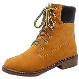 YE Damen Flache Stiefeletten Chukka Boots Winter Ankle Boots Schnürung Warme Stiefel Outdoor Freizeit Schuhe(Braun,41)