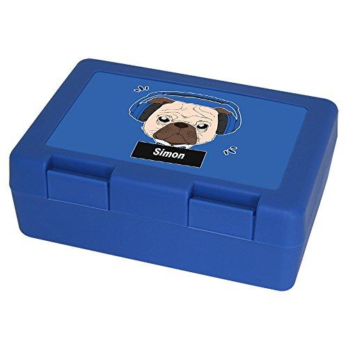 Brotdose mit Namen Simon und schönem Motiv - Mops mit Kopfhörer - für Hundefreunde | Brotbox blau - Vesperdose - Vesperbox - Brotzeitdose mit Vornamen -