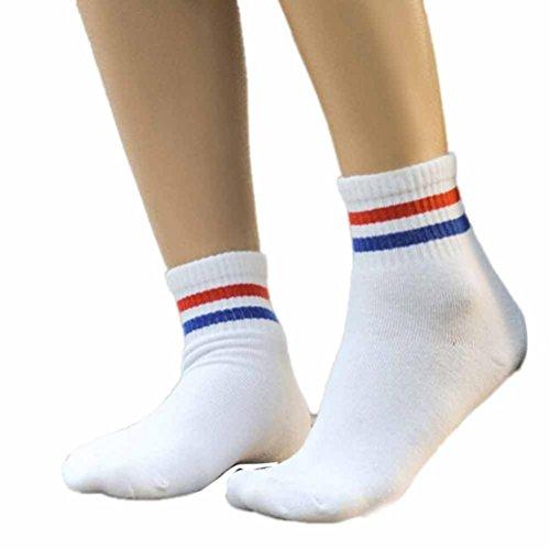2 Streifen Socke (Transer® Unisex Baumwolle Socken Streifen Knöchel Wärmer Herbst Winter Socken Größe: 22-24cm (Mehrfarbig))