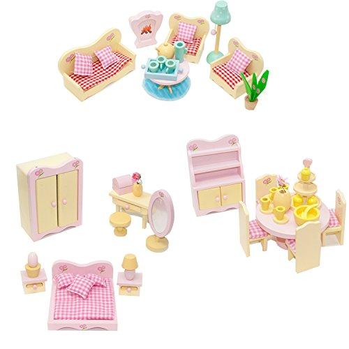 3 Stück Puppenhaus Möbel Sets, Bargain Bundle. 3 Wunderschöne Holz Sweetbee Raum-Sets für Kinder Puppen Häuser, Wohnzimmer, Esszimmer und - Puppe-haus-bundle