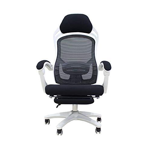 XJYZ Bürostuhl Gaming Stuhl Ergonomisches Atmungsaktives Mesh Armlehne verstellbar mit Kopfstütze und Lendenkissen verstellbaren armlehnen,White,Nylon