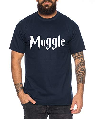 Muggle Herren T-Shirt Potter Zauber Magie Schule Harry, Farbe:Dunkelblau, Größe:XXL