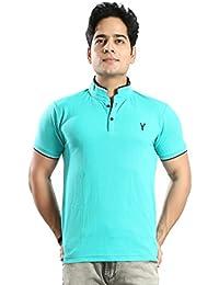 Basilio Men's Cotton Fabric Stand Collar Solid T-Shirt