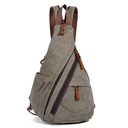 Canvas Sling Bag Rucksack Damen und Herren - Schulterrucksack Umhängetasche Crossbag Verstellbarem Schultergurt Perfekt für Outdoorsport,...