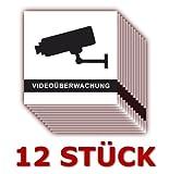 12 Stück - Folienaufkleber Videoüberwachung schwarz-weiss Größe 5 x 5 cm - für innen und außen geeignet ( 508k )
