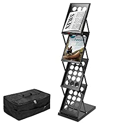 Voilamart A4 Exhibition Stand, 4-shelf Folding Floor Display Stand Portable Magazine Brochure Leaflet Holder Catalogue Reference Racks For Exhibition Trade Show Reception With Carry Case, 124x41x27cm
