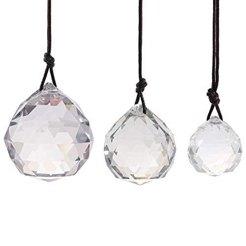 JUNERAIN Kristallglaskugel-Anhänger, Sonnenfänger, DIY Prismen, Heimdekoration, 3 Stück