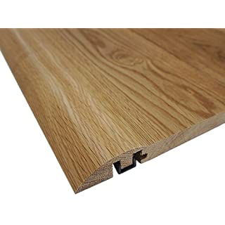 Solid Oak Pre (lacquered) & Un Finished 'Ramp' Threshold / Moulding / Door Strip / Door Bar / Cover Strip (Pre - Finished (Satin) with plastic fixing trim