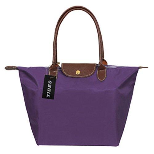 Tibes einfache Art und Weise Handtasche Einkaufstasche Damen Groß Wasserdichter Schultertasche Lila