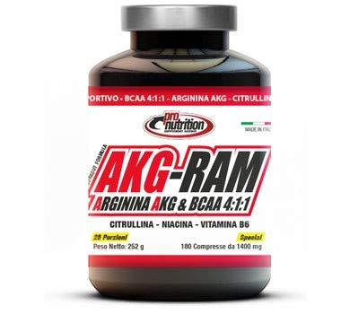 ProNutrition AKG-RAM (180 cpr) Aminoacidi BCAA 4:1:1 con Arginina Akg Citrullina Niacina e Vit B6