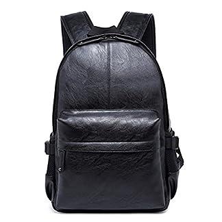 Vintage de Piel sintética Casual Mochila para portátil, fewofj Fashion Escuela Estudiante Universitario Mochila Travel Tablet Mochila para Hombres Negro Negro