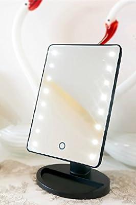 Belle Schwarz Rechteckig LED Licht Beleuchteter Kosmetikspiegel Schminkspiegel Tischspiegel mit Berührungsschalter & Standfuß Basis für Schlafzimmer oder Badezimmer