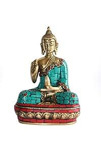 Roque Handicrafts Buddha Brass Idol with Stone Work (Silver)