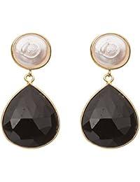 Gemshine - Damen - Ohrringe - 925 Silber Vergoldet - Perlen - Onyx - Weiss - Schwarz - 4 cm