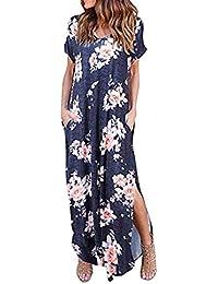 Angelof   Robe Longue Femme Chic pour Fillette Fendue Imprimé Casual Pocket  Beach Short Manches Courtes c04b5b1b708b