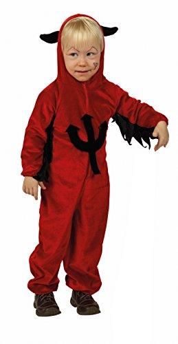 Teufel Kinder Kostüm Devil Overall Kleinkind rot Dracula Vampir Dämon Hörner Dreizack Größe 92, 104, 128-104
