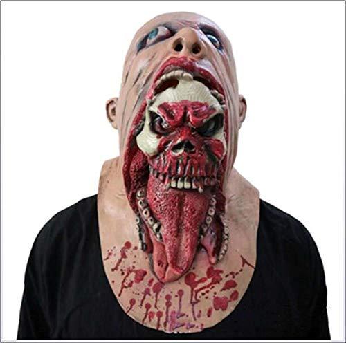 Amprines Halloween-Maske Kopfbedeckung Schrecklich Widerlich Faul Gesicht Blutige Zombie-Maske Zu Fuß Tot Auto Biohazard