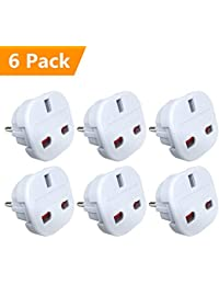 [ Pack of 6 ] UPZHIJI Travel Adapter - UK to EU Euro European adapter White Plug 2 Pin