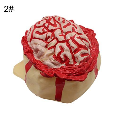 Steellwingsf realistische Halloween offene Gehirn Blutung Gummi Kopf Cap Hut beängstigend Party Requisiten - 2