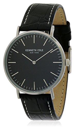 Kenneth Cole Homme Bracelet Cuir Noir Boitier Acier Inoxydable Quartz Analogique Montre KC50507004