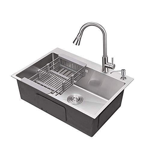 AuraLum 50 × 40 × 22 CM Küchenspüle Edelstahl Einbauspüle Waschbecken Spüle Eckige Edelstahlspüle mit Syphon für Küche, Plattendicke ca. 3mm