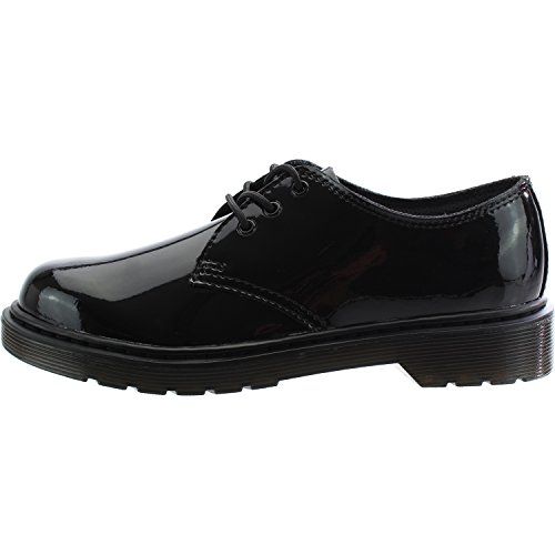 Dr Martens Everley Black Patent Youth Derby Shoes Black