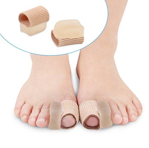 HOMEYU® 4 Stück Stoff Zehenspreizer Toe Straightener Corrector Bunion Relief Zehe Spacer Set Gel Tube Sleeve Toe Protektoren für Männer und Frauen