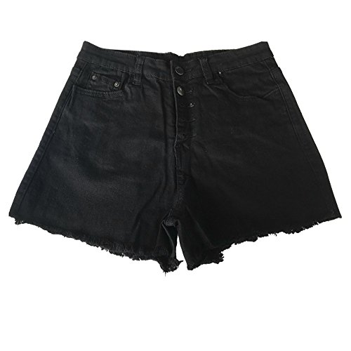 Deloito Neu Sommer Kurz Hotpants Damen Mode Jeans Shorts Sexy Taschen High Waist Denim Mini Hose mit Taschen (Schwarz-B, Large) -