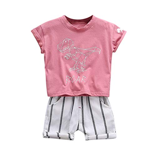 Kostüm Animal Gruppe Party - Cuteelf Baby Set Kinder Cartoon Dinosaurier Top + Gestreifte Shorts Zweiteiliges Kind Kind Jungen Cartoon Dinosaurier T-Shirt Top Streifen Shorts Set
