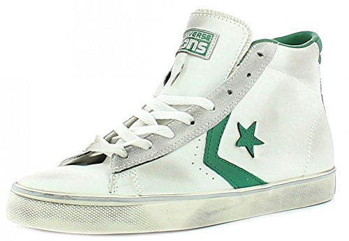 CONVERSE ALL STAR PRO LEATHER MID BIANCO-VERDE VINTAGE 155097C - 42, BIANCO