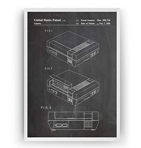 NES Patent Poster - Gamer Gaming Print Gift Vintage Blueprint Retro Girls Boys Video Games Room Wall Art Bedroom Original Decor Merchandise Classic - Frame Not Included (Original-ps2-system)
