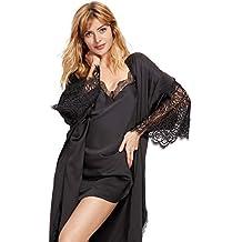 d1281c00467f Dobreva Donna Pigiama Kimono Vestaglia Raso Corta Camice da Notte in Pizzo