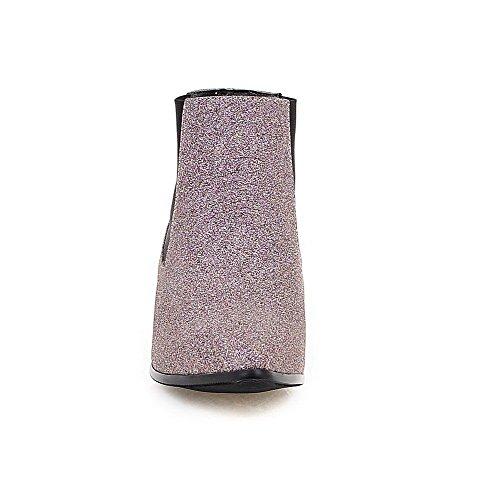 VogueZone009 Damen Niedrig-Spitze Ziehen Auf Weiches Material Niedriger Absatz Stiefel Pink
