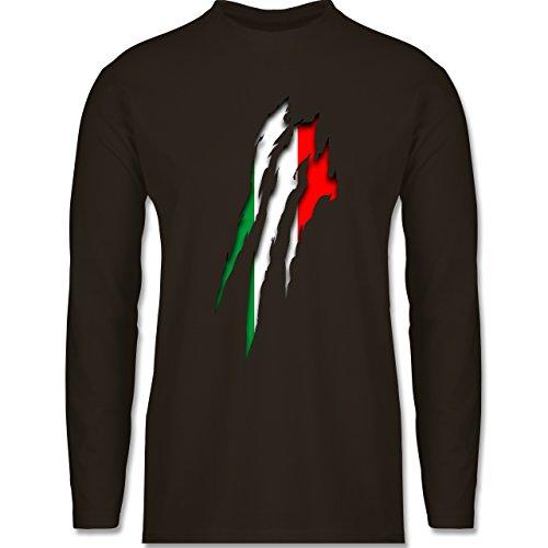 Shirtracer Länder - Italien Krallenspuren - Herren Langarmshirt Braun. Das langärmelige  Shirt ...