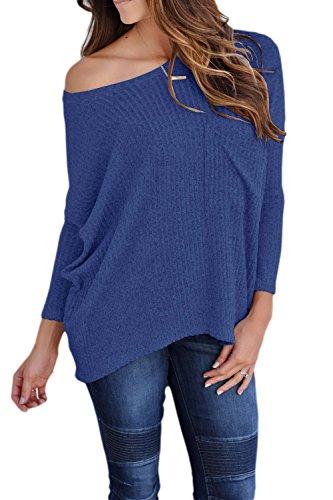 Une Épaule En Tunique Manches Femmes Décontracté Figure Pull T - Shirt Tee Haut De La Page blue